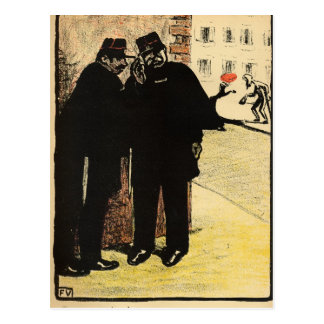 Two policemen hide from the Commissioner's wife Postcard