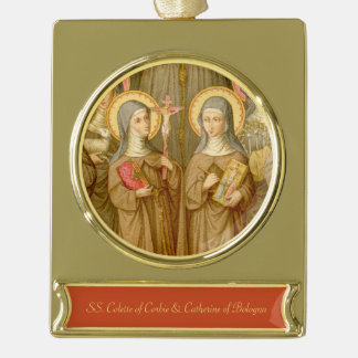 Two Poor Clare Saints (SAU 027) Gold Plated Banner Ornament