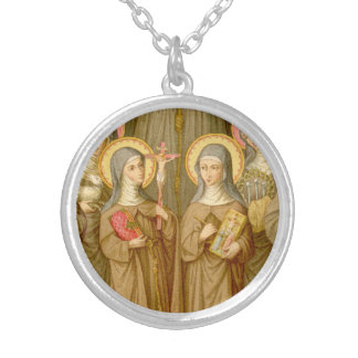 Two Poor Clare Saints (SAU 027) Silver Plated Necklace