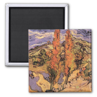 Two Poplars on a Road Through Hills by van Gogh Square Magnet