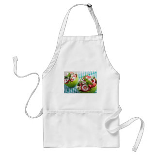 Two portions of useful vegetarian meal closeup standard apron