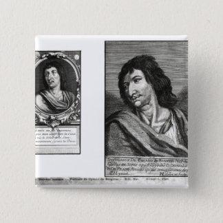 Two portraits of Savinien Cyrano de Bergerac 15 Cm Square Badge