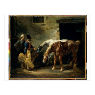 Two post-horses at the stable by Theodore Gericaul Postcard
