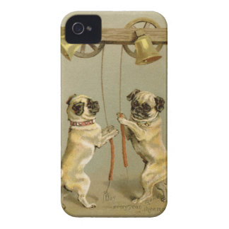 Two pug dogs ringing the Christmas bells Case-Mate iPhone 4 Case