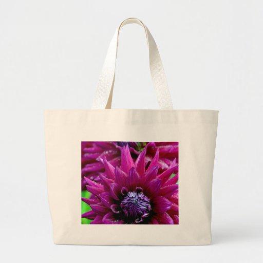 Two purple dahlias flowers in bloom canvas bag
