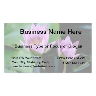 two purple water lilies business card template