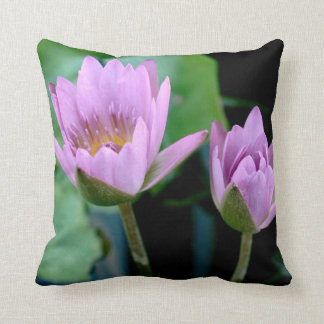 two purple water lilies cushions