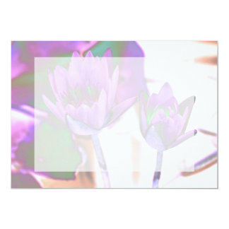 two purple water lilies invert solarized 13 cm x 18 cm invitation card