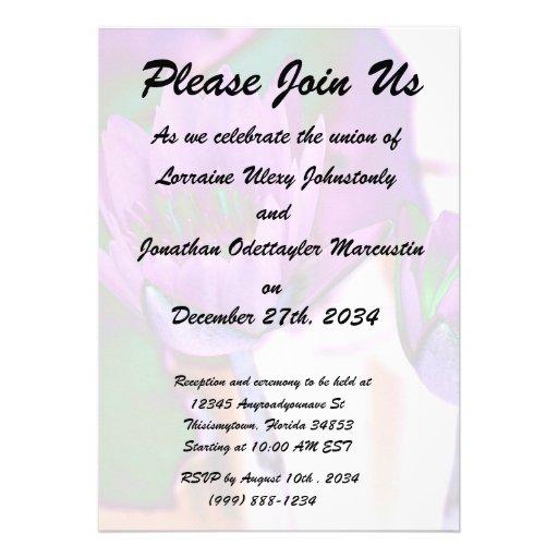 two purple water lilies invert solarized custom invitations