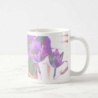 two purple water lilies invert solarized coffee mug