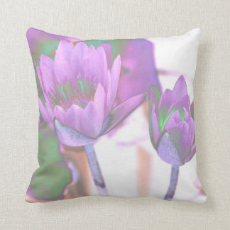 two purple water lilies invert solarized throw cushion
