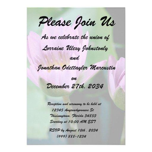 two purple water lilies invitation