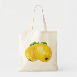Two quince fruits budget tote bag