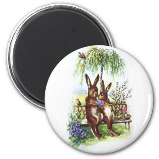 Two Rabbits on a Bench Magnet