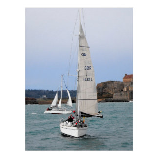 Two racing yachts poster