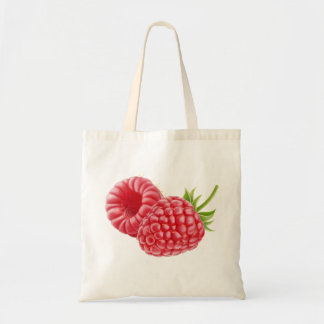 Two raspberries budget tote bag