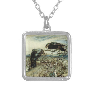 Two Ravens Illustration Silver Plated Necklace