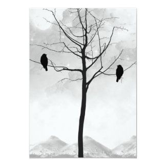 Two Ravens in Silhouette Goth Wedding Card