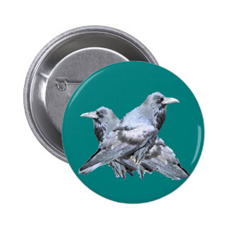 Two Ravens teal Gifts 6 Cm Round Badge