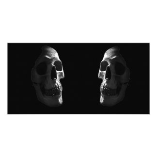 Two real smiling skulls photo card template