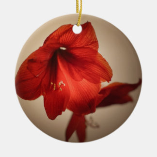 Two red amaryllis flowers ceramic ornament