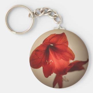 Two red amaryllis flowers key ring