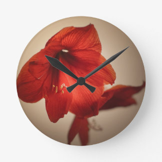 Two red amaryllis flowers round clock