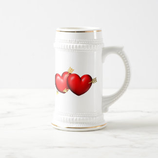 Two red and chubby hearts with golden arrows beer stein