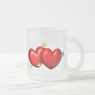 Two red and chubby hearts with golden arrows frosted glass coffee mug