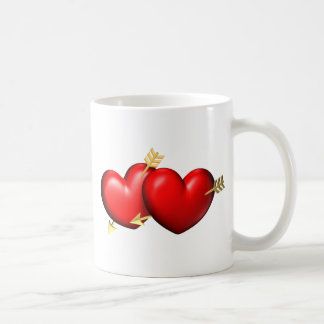 Two red and chubby hearts with golden arrows basic white mug