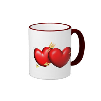 Two red and chubby hearts with golden arrows ringer mug