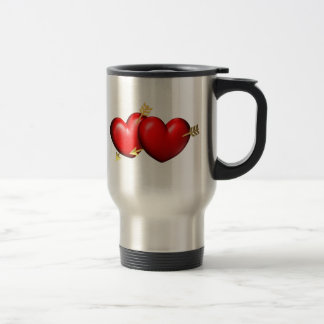 Two red and chubby hearts with golden arrows stainless steel travel mug