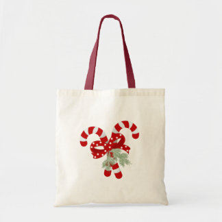 Two Red and White Candy Canes Crossed Tote Bag