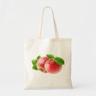 Two red apples budget tote bag