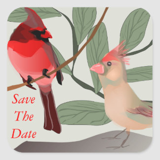 Two Red Birds in Nature Save The Date Custom Square Sticker
