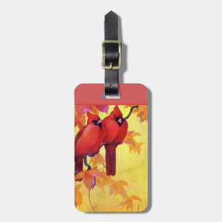 Two Red Cardinals on a Golden Autumn Day Luggage Tag