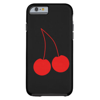 Two Red Cherries on Black. Tough iPhone 6 Case