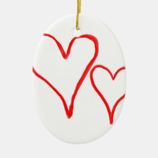 Two red drawn heart outlines, different sizes ceramic oval decoration