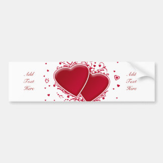 Two Red Hearts For Valentine's Day Bumper Sticker