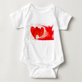 two red hearts together baby bodysuit