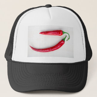 Two red hot chili pepper closeup trucker hat