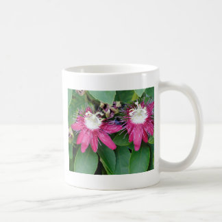 Two Red Passion Flowers Closeup Outdoors in Nature Coffee Mug