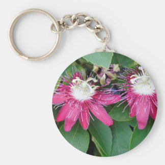 Two Red Passion Flowers Closeup Outdoors in Nature Key Ring