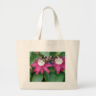 Two Red Passion Flowers Closeup Outdoors in Nature Large Tote Bag