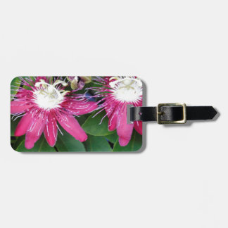 Two Red Passion Flowers Closeup Outdoors in Nature Luggage Tag