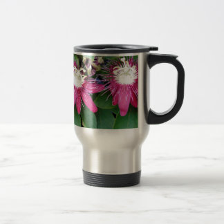 Two Red Passion Flowers Closeup Outdoors in Nature Travel Mug