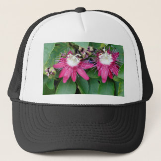 Two Red Passion Flowers Closeup Outdoors in Nature Trucker Hat