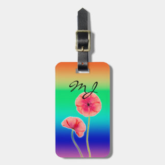 Two red poppies over blue ombre background luggage tags