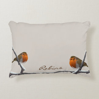 "Two Red Robins Personalized Pillow 16""x12"" Accent Cushion"