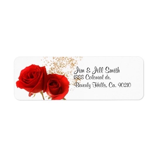 Two Red Roses Return Address Label